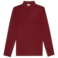 Reiss Parry Long Sleeve Polo Shirt Summer Bordeaux