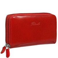 Fontanelli Calf Leather Wallet With Double Zip Red