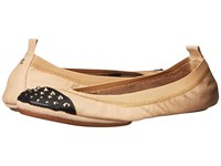Yosi Samra Samantha Soft Leather Fold Up Flat With Fully Stud Captoe Latte Black Women's Flat Shoes Tan