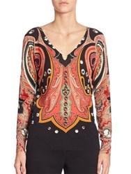 Etro Silk And Cashmere Paisley Print Sweater Orange