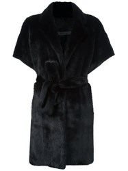 Simonetta Ravizza Belted Fur Coat Black
