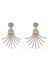 Lanvin Elvira Gold Tone And Pewter Clip Earrings