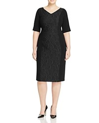 Marina Rinaldi Duchessa Jacquard Panel Sheath Dress Black