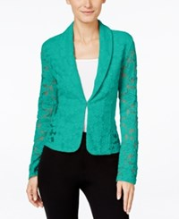 Inc International Concepts Lace Blazer Only At Macy's Teal Glow
