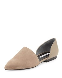 Kenny Suede Leather D'orsay Flat Taupe Charles David Brown