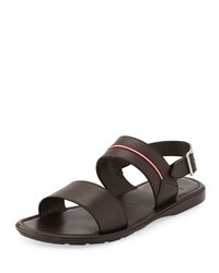Daiki Fisherman Strappy Leather Sandal Black Bally Brown