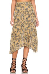 For Love And Lemons Pia Midi Skirt Mustard