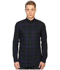 Dsquared Black Watch Woven Shirt Black Green Men's Clothing