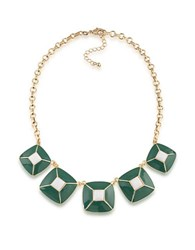 1St And Gorgeous Enamel Pyramid Pendant Statement Necklace In Green White Gold