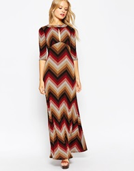 Asos Knitted Maxi Dress In 70S Chevron Print
