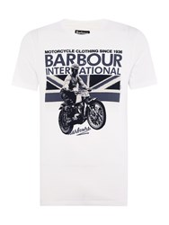 Barbour Short Sleeve Rider Union Jack Motorcycle Tee White