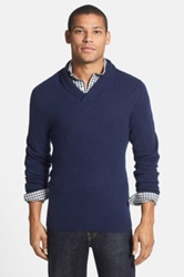 1901 Merino Wool And Cashmere Shawl Collar Sweater Blue