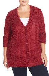 Plus Size Women's Sejour 'Happy' Eyelash Yarn V Neck Cardigan Red Rumba