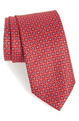 J.Z. Richards Men's Geometric Silk Tie Red