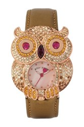 Betsey Johnson Women's Pave Crystal Owl Case Leather Strap Watch Brown