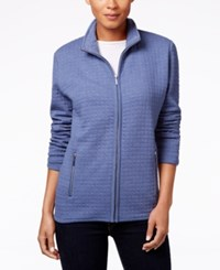 Karen Scott Quilted Zipper Front Jacket Only At Macy's Heather Indigo