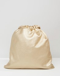 7X Leather Look Drawstring Backpack Gold