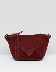 Asos Festival Suede Cross Body Bag With V Front Oxblood Red
