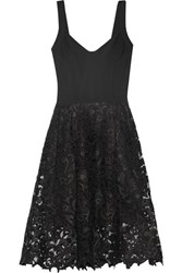 Oscar De La Renta Stretch Jersey And Guipure Lace Dress Black