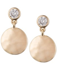 Judith Jack Gold Tone Hammered Disc And Crystal Drop Earrings