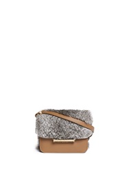 Jason Wu 'Diane' Mini Rabbit Fur Leather Crossbody Bag Brown