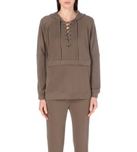 The Kooples Batwing Cotton Blend Hoody Beige