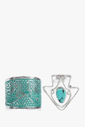 Boohoo Rope Detail Arrow Turquoise Ring 2 Pack Silver