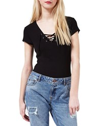 Miss Selfridge Lace Up Short Sleeve Tee Black