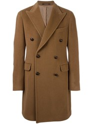 Tagliatore Double Breasted Corduroy Coat Brown