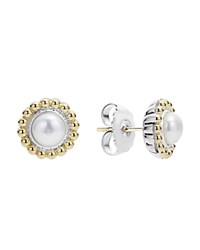 Lagos Sterling Silver And 18K Gold Stud Earrings With Cultured Freshwater Pearl White