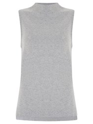 Mint Velvet High Neck Sleeveless Top Grey