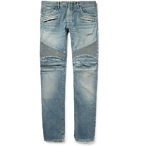 Balmain Slim Fit Distressed Denim Biker Jeans Blue