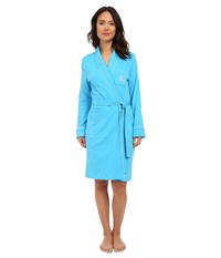 Lauren Ralph Lauren Essentials Quilted Collar And Cuff Robe Turquoise Women's Robe Blue