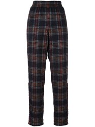 Chanel Vintage Plaid Trousers Black