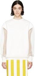 Marni Cream Jersey And Tulle Sweatshirt