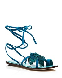 Bernardo Michelle Flower Lace Up Flat Sandals Turquoise