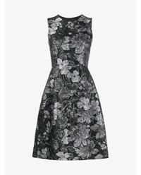 Dolce And Gabbana Sleeveless Floral Cloque Dress Silver Black