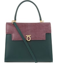 Launer Traviata Leather Tote Green Burg Lizard Cream