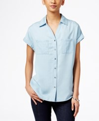 Styleandco. Style And Co. Button Down Denim Shirt Only At Macy's Ice Wash