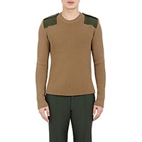 Valentino Men's Rib Knit Military Sweater Dark Green