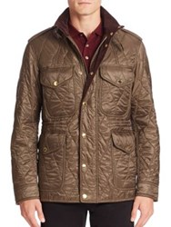 Burberry Stand Collar Quilted Jacket Oregano