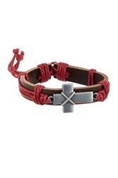 Jean Claude Cross Charm Detailed Pink Ribbon Wrapped Genuine Leather Bracelet Red