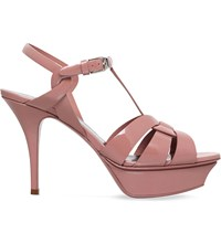 Saint Laurent Tribute 75 Patent Leather Heeled Sandals Pale Pink