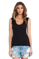 Velvet By Graham And Spencer Gauzy Whisper Classics Estina Scoop Neck Tank Black