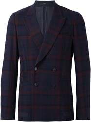 Paul Smith Double Breasted Plaid Blazer Blue