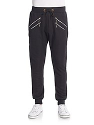 American Stitch Embossed Stripe Zip Front Jogger Pants Black