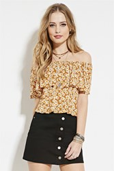 Forever 21 Daisy Off The Shoulder Top Amber Yellow