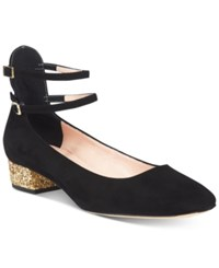 Kate Spade New York Marcellina Glitter Block Heel Pumps Women's Shoes Black Suede