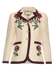 Gucci Floral Embroidered Silk And Cotton Blend Jacket White Multi