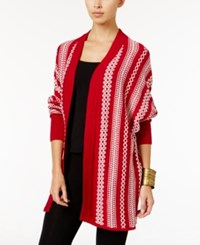Lucky Brand Patterned Lounge Sweater Wrap Red